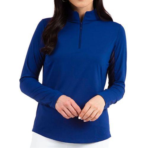 Ibkul Solid Long Sleeve 1/4 Zip Mock Top Womens Navy 80000 NVY