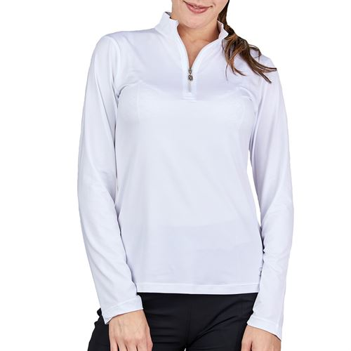 Sofibella UV Feather 1/2 Zipper Long Sleeve Top Womens White 9004F WHT