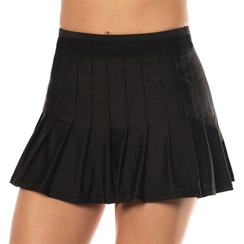 Lucky in Love Long Retro Pleated Skirt Womens Black CB287 001