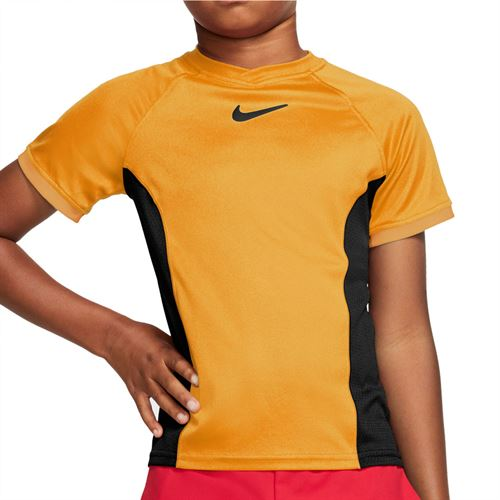 Nike Boys Court Dri Fit Crew Shirt Sundial/Black CD6131 717