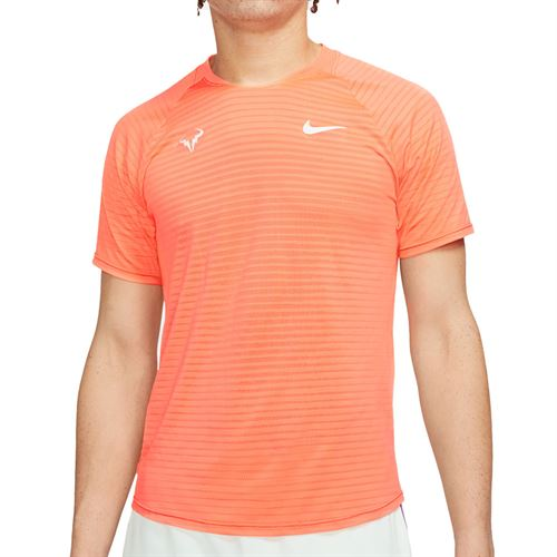 Nike Court AeroReact Rafa Slam Crew Shirt Mens Bright Mango/Barely Green CI9152 854