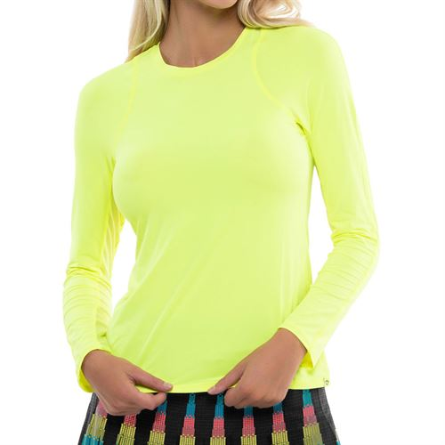 Lucky in Love L UV Protection Breeze Long Sleeve Crew Top Womens Neon Yellow CT634 710