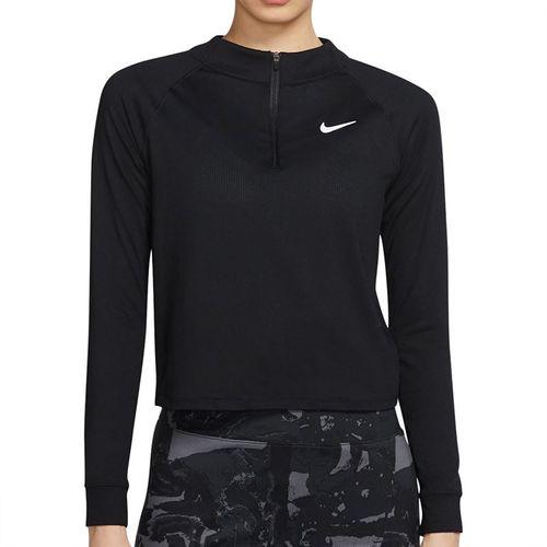 Nike Court Dri FIT Victory Long Sleeve Top Womens Black/White CV4697 010