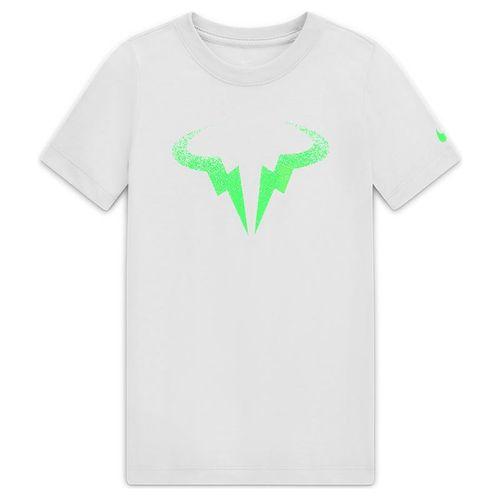 Nike Boys Court Dri Fit Rafa Tee Shirt White/Green Strike CW1521 100