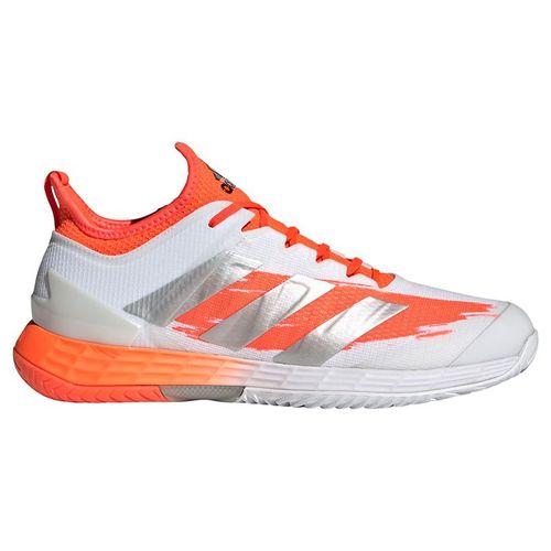 adidas Adizero Ubersonic 4 Mens Tennis Shoe White/Silver Metallic/Solar Red FZ4882