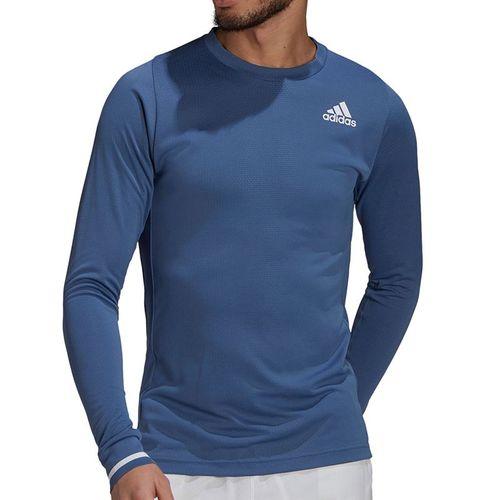adidas Freelift Long Sleeve Tee Shirt Mens Crew Blue/White GL5328