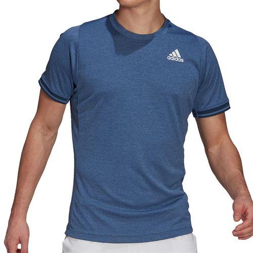 adidas Freelift Tee Shirt Mens Crew Blue/White/Hazy Blue GL5338