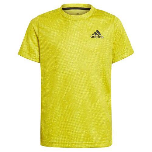 adidas Boys Tee Shirt Acid Yellow/Wild Pine/White GQ2232