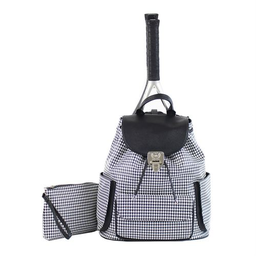 Court Couture Hampton Houndstooth Tennis Backpack - Black