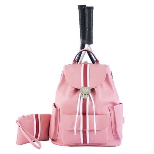 Court Couture Hampton Striped Razzmatazz Tennis Backpack - Pink/White