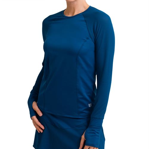 Eleven Forest Star High Serve Long Sleeve Top Womens Jeweled Blue LS106 409