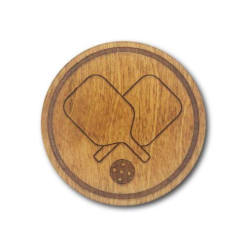 Racquet Inc Pickleball Wooden Coasters - Brown