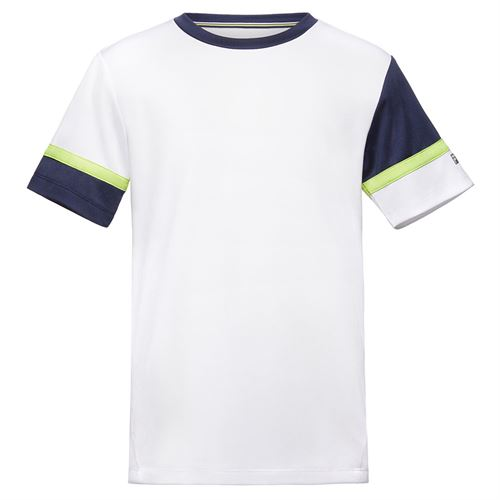 Fila Boys Player Doubles Crew Shirt White/Navy/Acid Lime TB018393 101