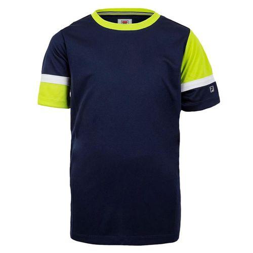 Fila Boys Player Doubles Crew Shirt Navy/Acid Lime/White TB018393 412