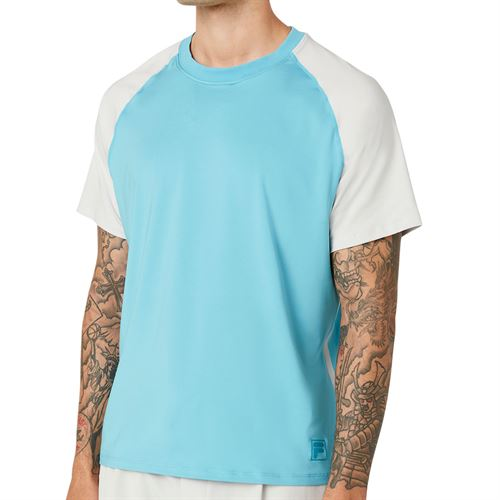 Fila Tie Breaker Colorblocked Crew Shirt Mens Maui Blue/Glacier Gray TM118299 458