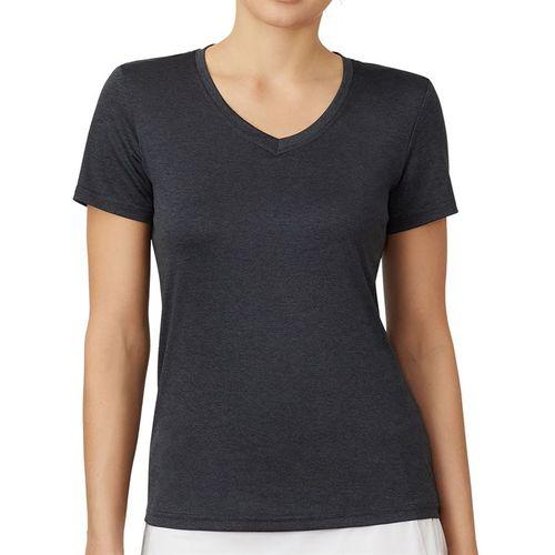 Fila Short Sleeve V Neck Top Womens Black TW016943 001
