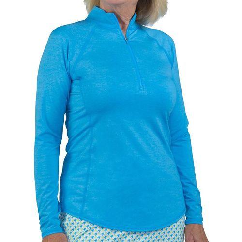 Jofit Key West Long Sleeve Mock Neck 1/4 Zip Shirt Womens Blue Lagoon UT232 BLL